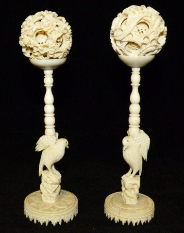 PAIR OF CHINESE IVORY CONCENTRIC BALL & STANDS