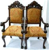 PAIR OF ENGLISH ANTIQUE CARVED LION WOODEN CHAIRS
