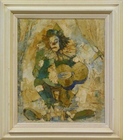 MAYODON OIL PAINTING ON CANVAS CLOWN WITH GUITAR