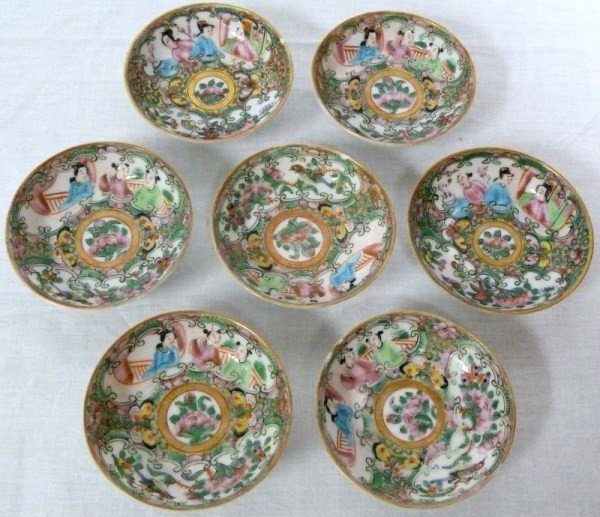 14: 7 ANTIQUE CHINESE ROSE MEDALLION BUTTER PAT BOWLS