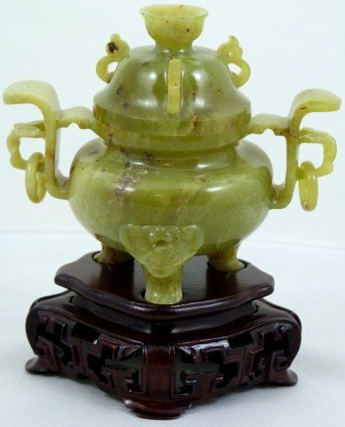 19: TRANSLUCENT CHINESE GREEN JADE CENSER w LID