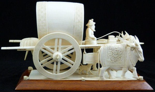 23: CHINESE IVORY OX WAGON GROUP CARVING