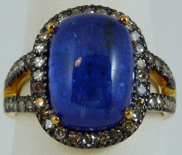 20: VINTAGE 14kt YG SAPPHIRE CABOCHON & DIAMOND RING