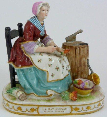 14: ANTIQUE KALK PORCELAIN FIGURE OF WOMAN COOKING