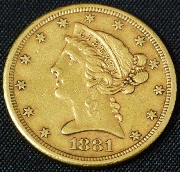 16: 22K GOLD 1881 LIBERTY HALF EAGLE
