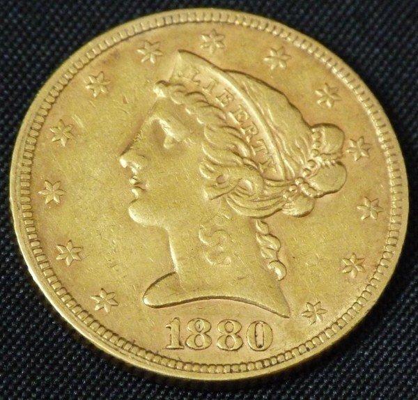 18: 22K GOLD 1880 LIBERTY HALF EAGLE