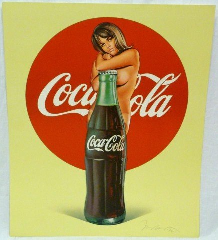 191: COCA COLA POSTER OF NUDE FEMALE AND 50'S BOTTLE