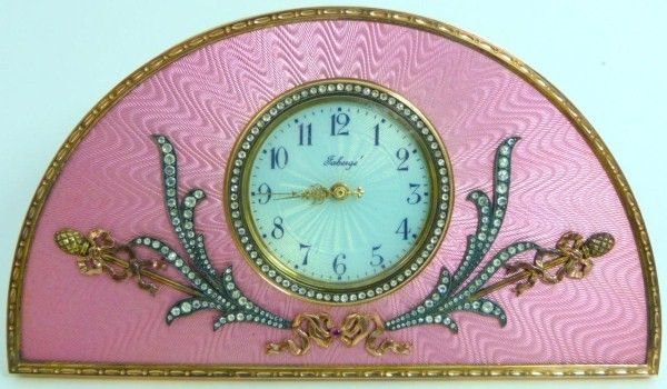 138: OLD RUSSIAN GOLD & DIAMOND ENAMEL DESK CLOCK