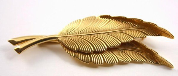 19A: TIFFANY & Co 14k GOLD DOUBLE LEAF PIN 44783