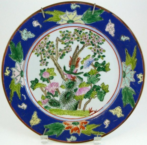 301: T'UNG CHIH ANTIQUE CHINESE PORCELAIN BIRD PLATE