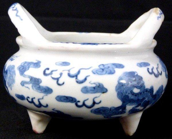 310: ANTIQUE CHINESE BLUE & WHITE TRIPOD CENSER SIGNED