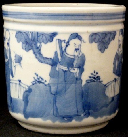 311: ANTIQUE CHINESE BLUE & WHITE PORCELAIN JAR