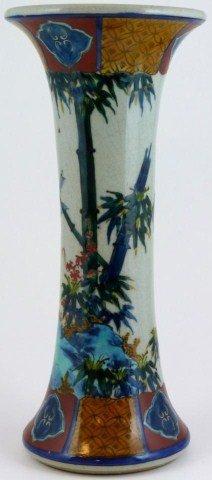 315: ANTIQUE JAPANESE PORCELAIN BAMBOO & BIRDS VASE