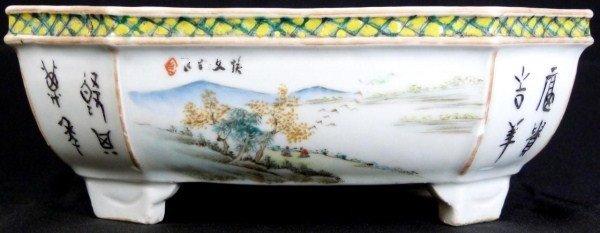 316: ANTIQUE CHINESE DOUCAI FOOTED FLOWER BASIN