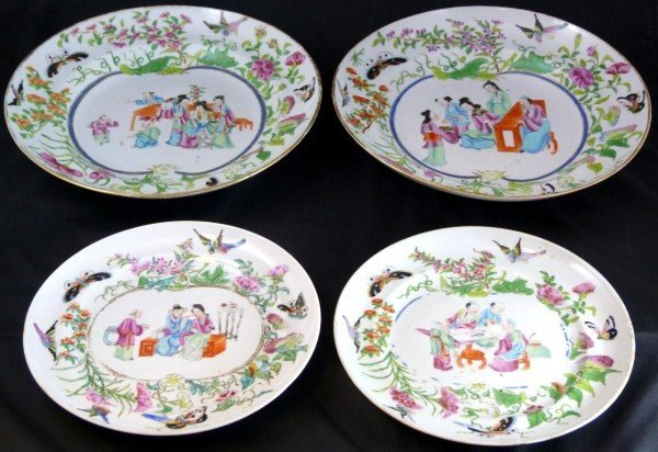 317: 4 ANTIQUE CHINESE PORCELAIN FAMILLE ROSE PIECES