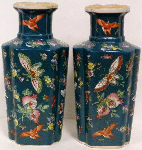 319: PAIR OF ANTIQUE CHINESE PORCELAIN BUTTERFLY VASES