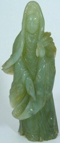 323: CHINESE CELADON JADE HAND CARVED QUAN YIN FIGURE