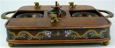 501 ANTIQUE CHINESE CLOISONNE CHAMPLEVE OPIUM SET