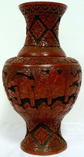 502 Antique Chinese Cinnabar Vase