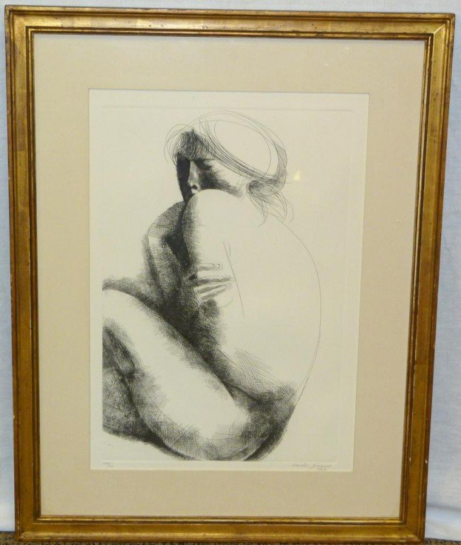 2: EMILIO GRECO ETCHING OF NUDE WOMAN