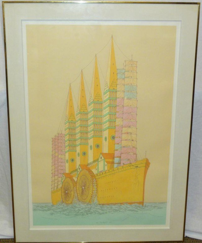 3: 1972 LITHOGRAPH DEPICTING BOAT w PADDLE WHEELS