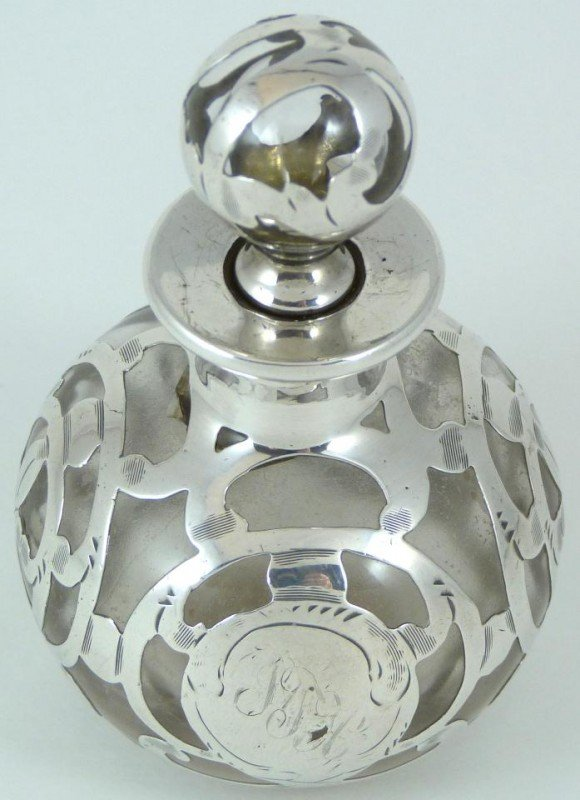 9: ANTIQUE GLASS PERFUME BOTTLE w FINE SILVER OVERLAY