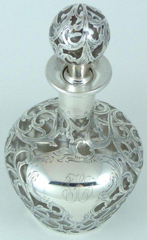 11: ANTIQUE GLASS DECANTER w ALVIN FINE SILVER OVERLAY