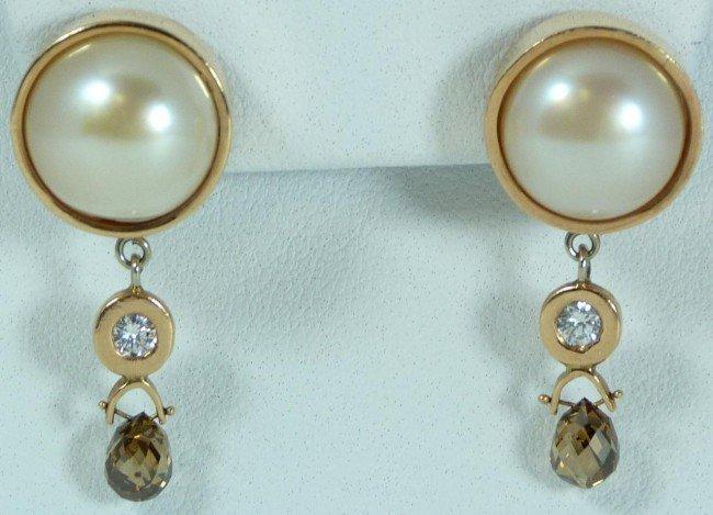 19: 14K ROSE GOLD PEARL & COGNAC DIAMOND EARRINGS
