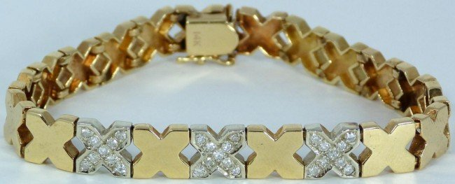 20: CONTEMPORARY 14K YELLOW GOLD/DIA X BRACELET