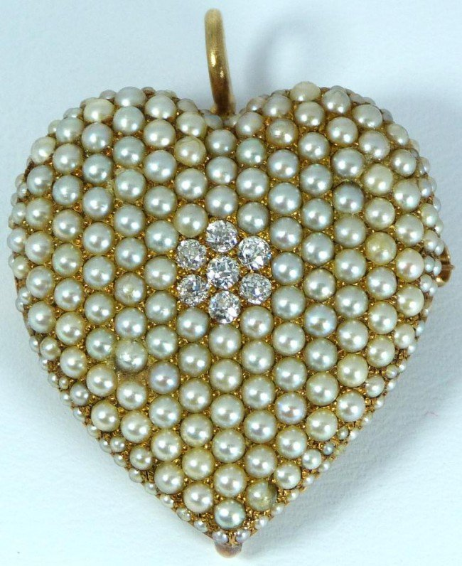 22: 14K YELLOW GOLD PEARL & DIAMOND HEART PIN/PENDANT