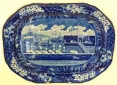 199: ANTIQUE STAFFORDSHIRE HISTORICAL BLUE SERV PLATTER