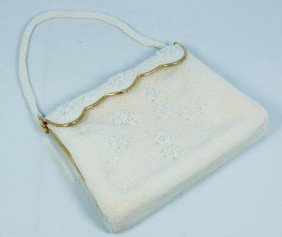 VINTAGE BEADED CREAM COLOR BEADED BAG PURSE