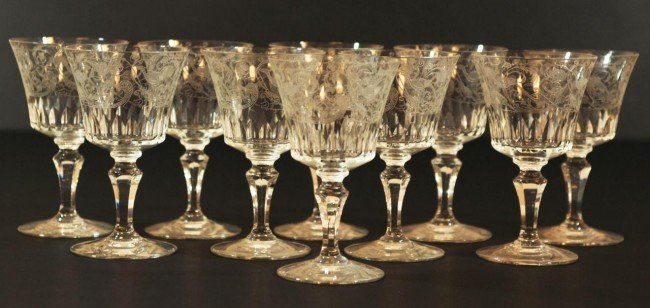 6: 10 BACCARAT PARME FRENCH CRYSTAL RED WINE GLASSES