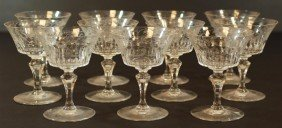 11 BACCARAT PARME FRENCH CRYSTAL CHAMPAGNE GLASSES