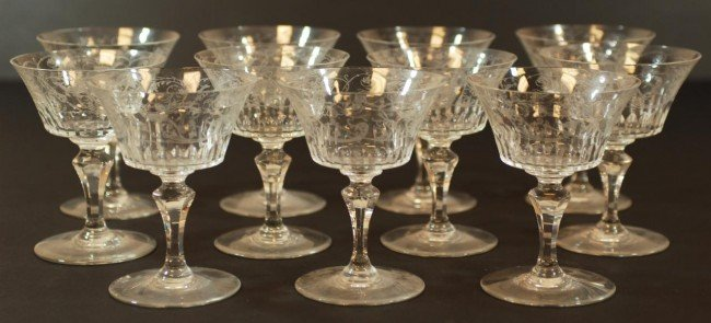 7: 11 BACCARAT PARME FRENCH CRYSTAL CHAMPAGNE GLASSES