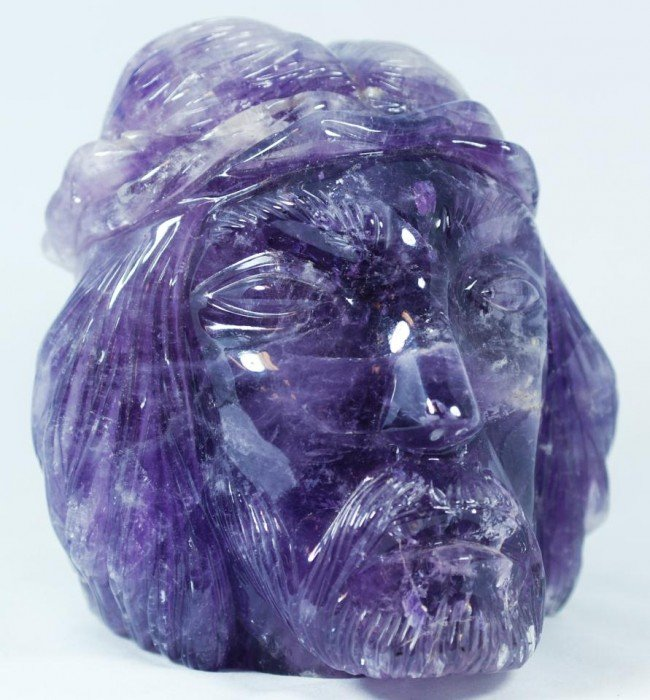 11: BRAZILIAN CARVED SOLID AMETHYST HEAD OF CHRIST