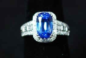 14K WHITE GOLD 3.11CT BLUE SAPPHIRE RING