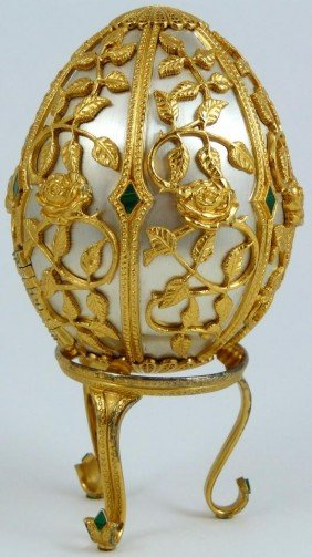 19: FABERGE RUSSIAN STERLING & MALACHITE BUTTERFLY EGG