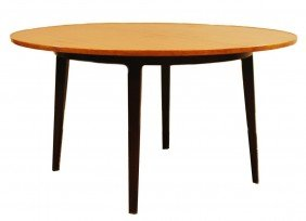 21: DUNBAR TAWI WOOD TOP ROUND DINING TABLE