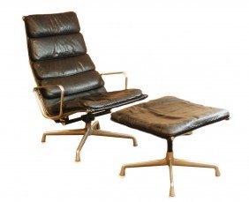 22: EAMES FOR HERMAN MILLER SOFTPAD LOUNGE w/ OTTOMAN