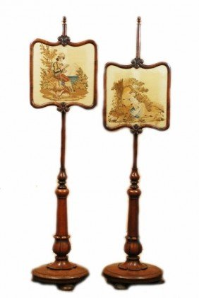 24: PR OF 19th C ENGLISH NEEDLEPOINT FIRESCREEN STANDS