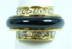 80A 18K YELLOW GOLD DIAMOND  ONYX MENS RING