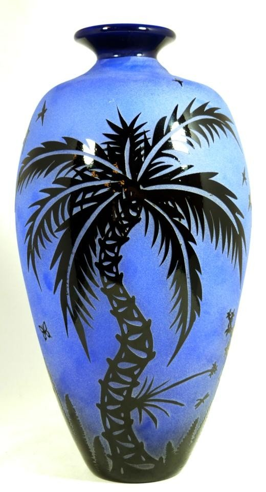 3: BLUE ACID ETCHED CAMEO GLASS PALM TREE VASE