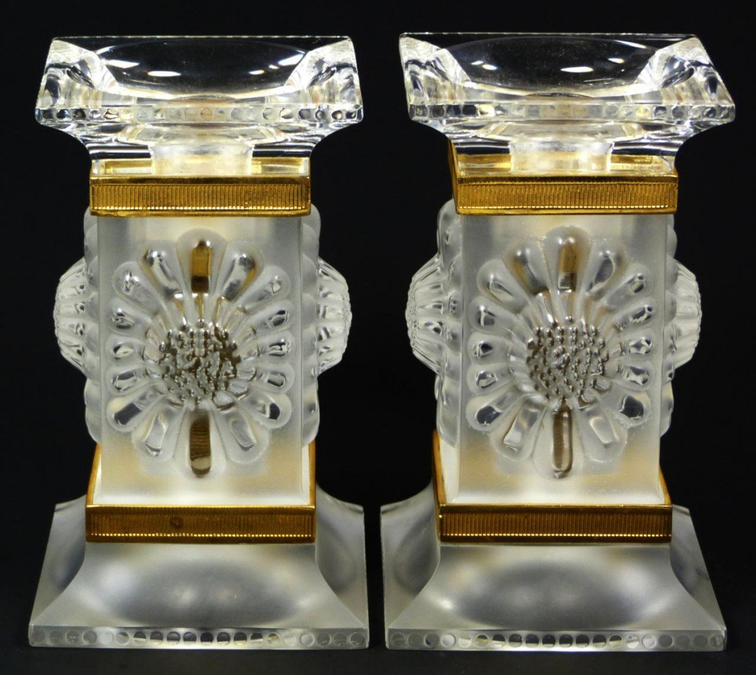 5: PAIR OF LALIQUE SIGNED PAQUERETTES CANDLESTICKS
