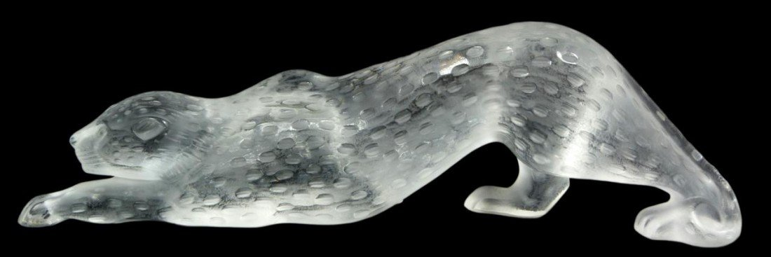 6: LALIQUE FRENCH CRYSTAL SNOW LEOPARD FIGURE