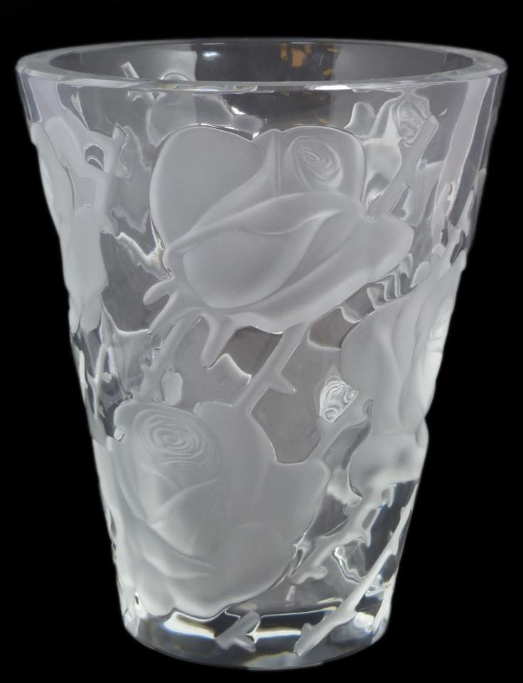 8: LALIQUE FRENCH CRYSTAL ISPAHAN ROSE VASE