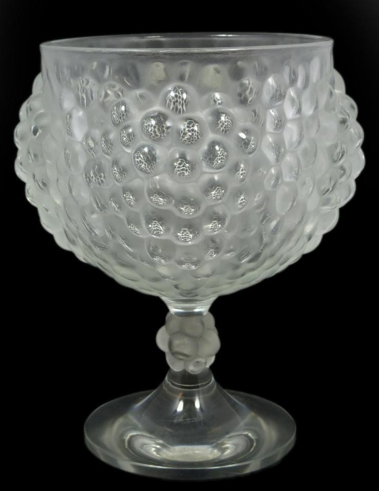 12: LALIQUE FRENCH CRYSTAL GRAPE CLUSTER PEDESTAL BOWL