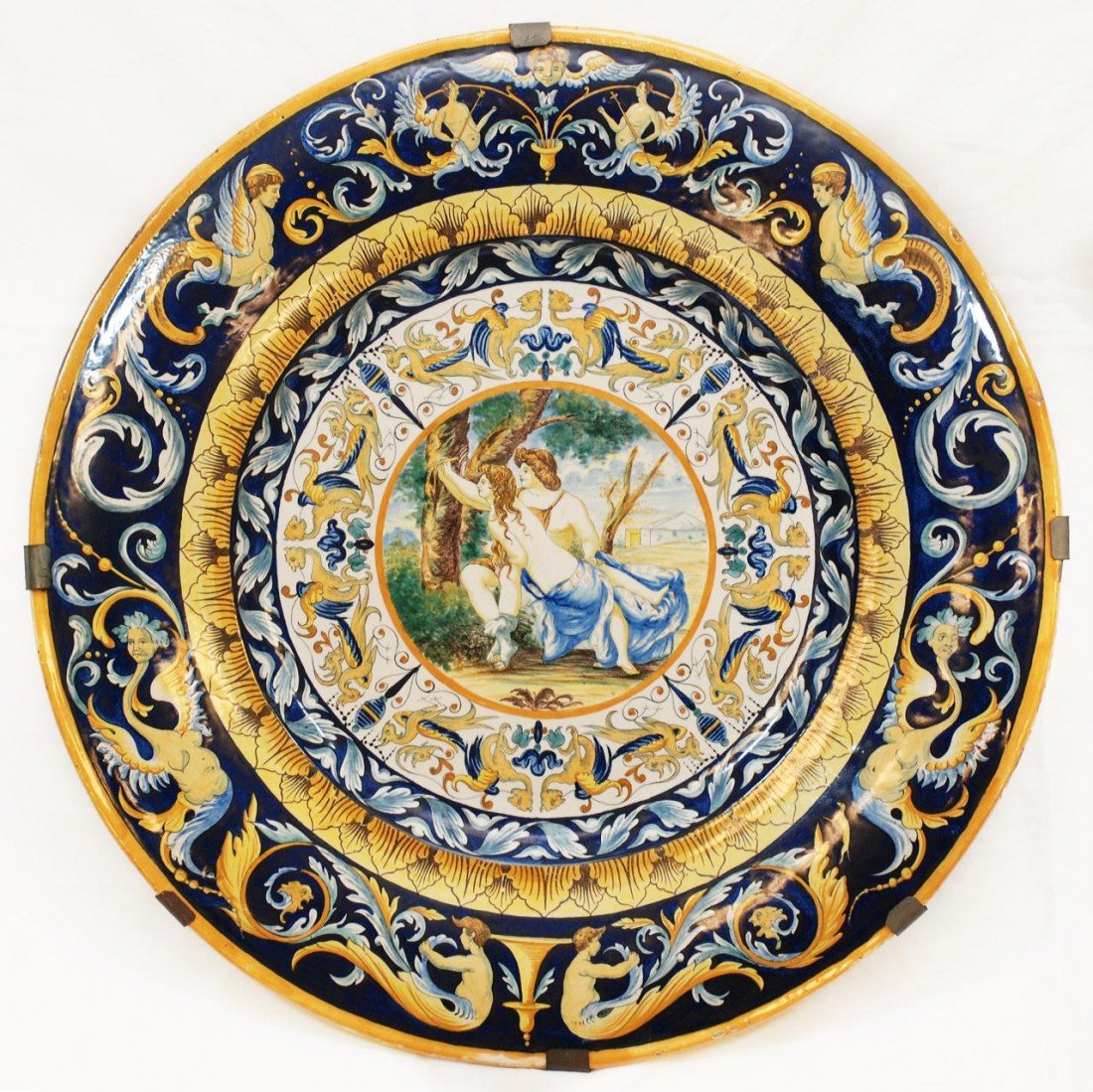 19: LARGE 19th C. ITALIAN MAJOLICA PORCELAIN CHARGER