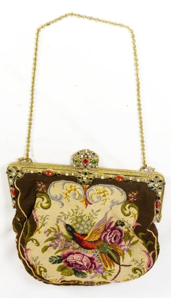 17: ANTIQUE JEWELED & SILK LINED TAPESTRY HANDBAG