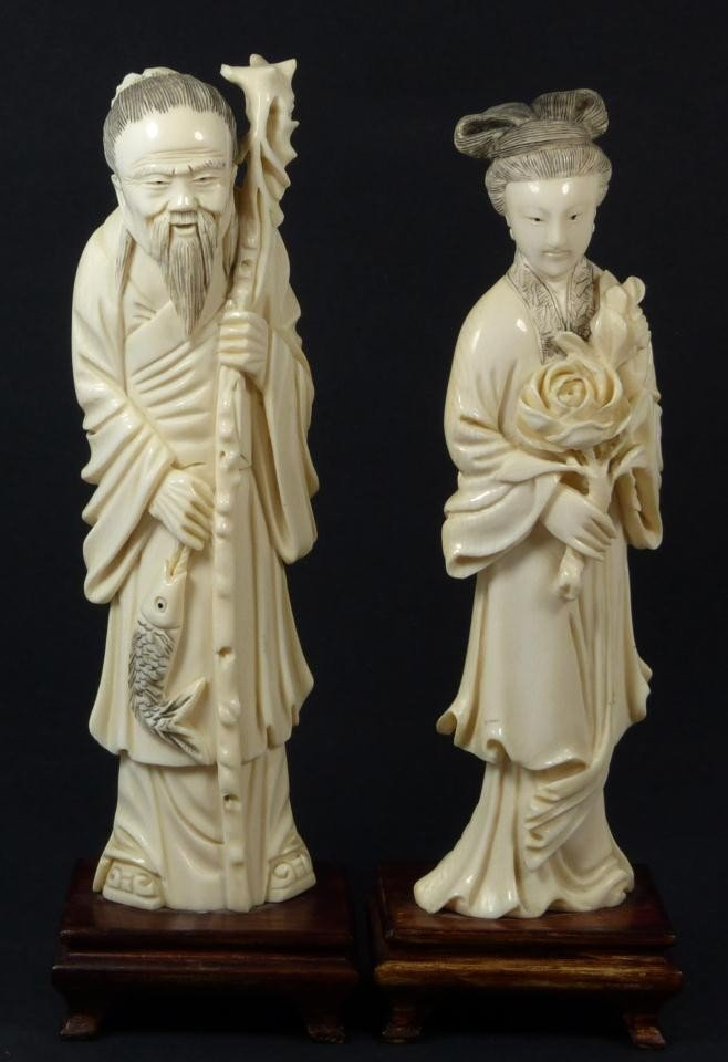 2: PAIR OF CHINESE CARVED IVORY MAN & WOMAN FIGURES
